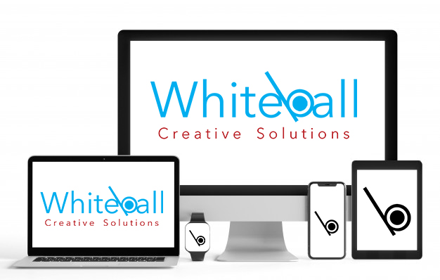 device mockup for Whiteball Creatve SOlutions website design and onlune marketing